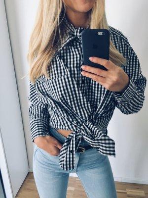 Zara Hemd kariert 38 M Bluse schwarz weiß