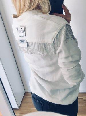 Zara Hemd mit Metallfransen XS 34 Weiß Bluse