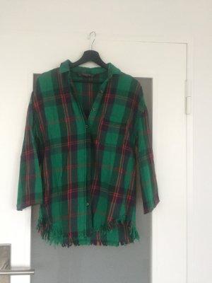 Zara Camisa de leñador verde oscuro