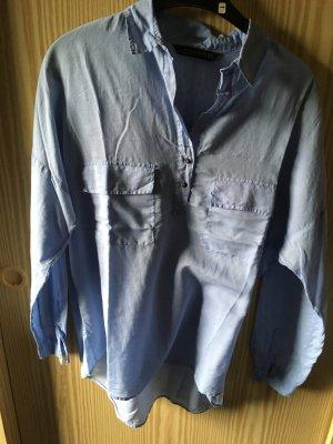 Zara Blusa-camisa azul celeste