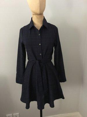 Zara Robe chemise bleu foncé coton