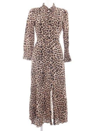 Zara Abito blusa camicia marrone-nero stampa integrale elegante