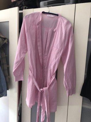Zara Hemdblusenkleid Blusenkleid Rosa weiß pink gestreift