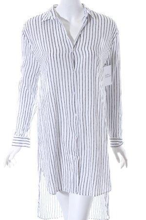 Zara Hemdblusenkleid weiß-schwarz Streifenmuster Urban-Look