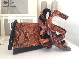 Zara High Heel Sandaletten braun-schwarz Party-Look + tasche