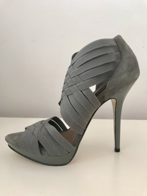 Zara High Heel Sandal grey-silver-colored suede
