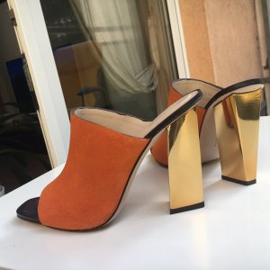 Zara High Heel Sandal orange-gold-colored leather