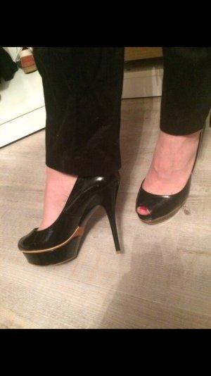 Zara, high heels, Plateau lack schwarz, Pumps, Schuhe, Peep toes, Lack