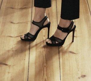 ZARA High Heels schwarz Plateau Riemen bequem Schuhe Sandaletten Riemchen 38