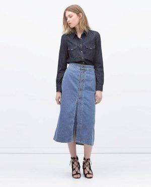Zara High Waist 70er Midi Jeansrock Blogger Cosy Trend 70er Gr. M