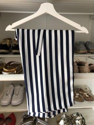 Zara Basic Pantalone culotte blu scuro-bianco
