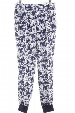 Zara High-Waist Hose dunkelblau-weiß florales Muster Romantik-Look