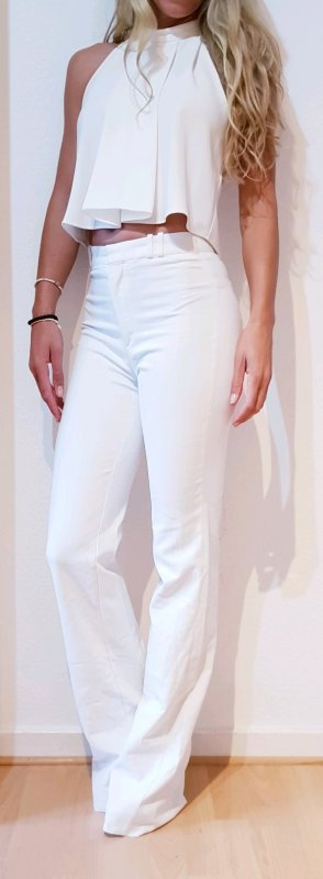 zara high waist Hose ibiza boho st tropez flared white party