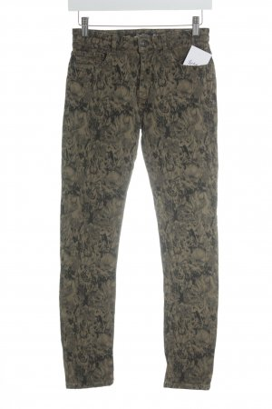 Zara High Waist Trousers black-olive green abstract pattern safari look