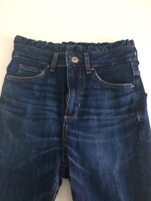 Zara Jeans a vita alta blu acciaio Tessuto misto