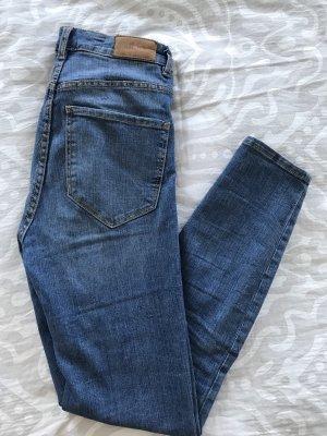 Zara Vaquero de talle alto azul