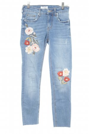 Zara High Waist Jeans blue flower pattern casual look