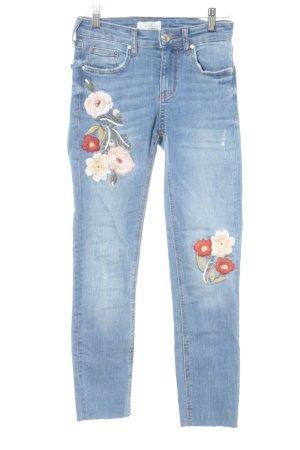 Zara High Waist Jeans blau Blumenmuster Casual-Look