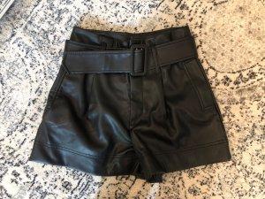 Zara Pantalón corto de talle alto negro