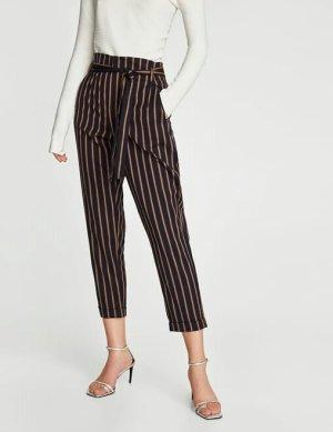 Zara Pantalon taille haute bleu foncé-rouille polyester