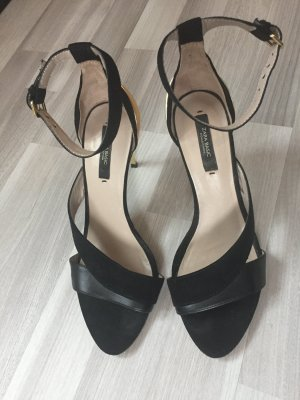 Zara Higheels Sandaletten aus velour mit gold