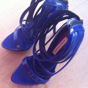Zara Strapped High-Heeled Sandals blue leather