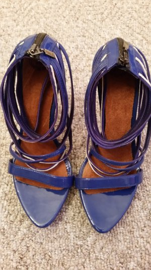 Zara Strapped High-Heeled Sandals blue-white leather