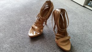 Zara Strapped High-Heeled Sandals nude leather