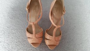Zara T-Strap Sandals nude-dusky pink leather