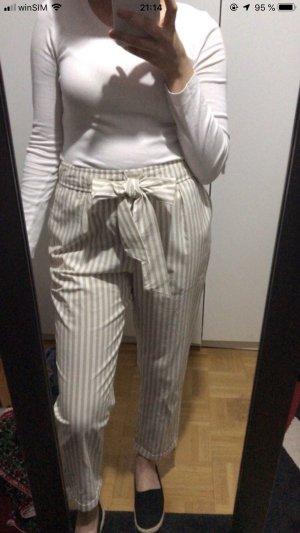 Zara Highwaist linierte Stoff chino hose sommer Urlaub hose neu schleifen
