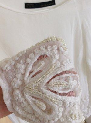 Zara hochwertige chiffon Bluse mit perlenbesatz