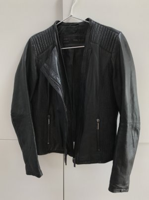 ZARA hochwertige Lederjacke Biker Jacke aus Echtleder Lammleder Schwarz Gr. 38 / M - 100% neuwertig!