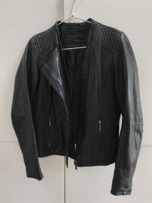 ZARA hochwertige Lederjacke Biker Jacke aus Lammleder Schafsleder Schwarz Gr. 38 / M - 100% neuwertig!