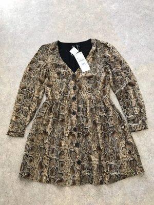 Zara hochwertiges Peplum Kleid mit Knöpfen Schlangenprint M