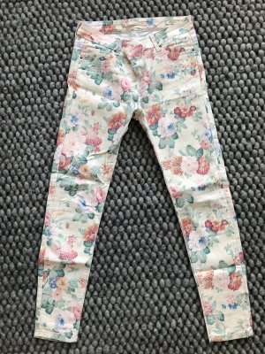 Zara pantalón de cintura baja blanco puro-rosa