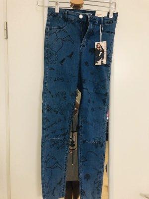 Zara Stretch broek blauw-staalblauw
