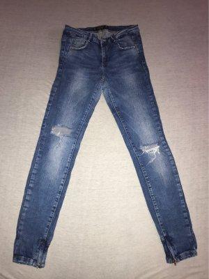 Zara Trafaluc Pantalón de tubo azul