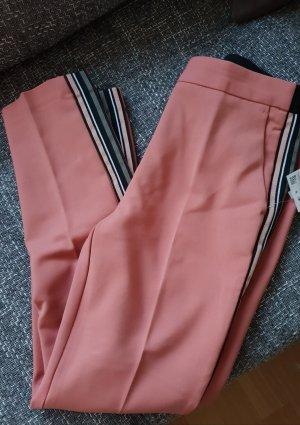 Zara Pantalón de cintura alta rosa-negro