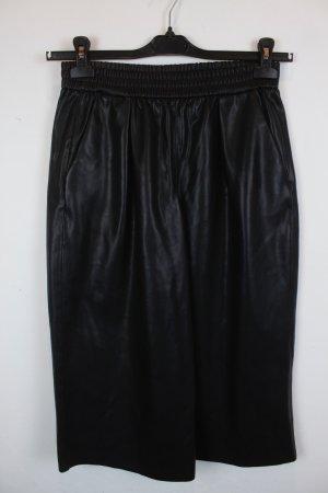 Zara Hose Culottes Gr. S schwarz Lederoptik