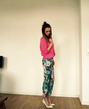 Zara Hose Floral Blumen Blau Weiß Pink 34 XS Neu Blogger