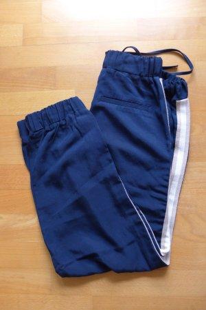 Zara Hose Jogging locker sportlich Streifen dunkelblau weiß beige Gr. S 36