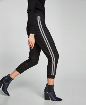 Zara Hose Jogginghose Streifen Schwarz S