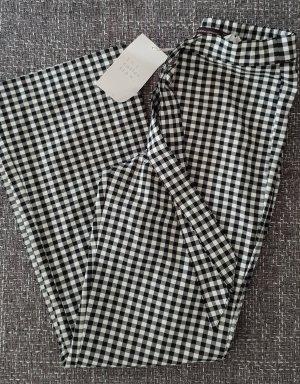Zara Pantalón tobillero negro-blanco