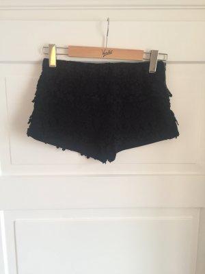 ZARA Hose Shorts Hotpants Floral Stickerei Blumen Spitze Schwarz