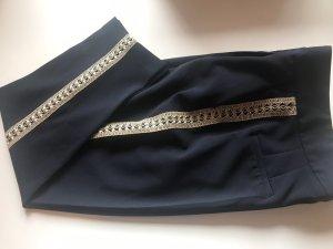Zara Pantalón tobillero azul oscuro-color oro