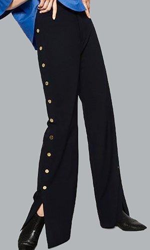 Zara Hose Track Pants Pyjama marine blau gold goldknöpfe XS Jogginghose weit marlene