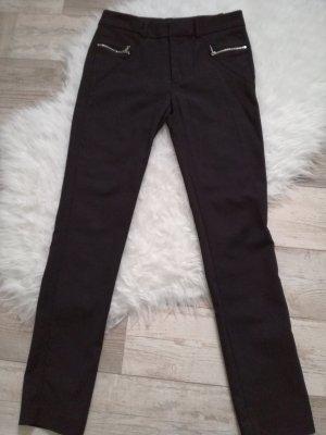 Zara Pantalón de cintura alta negro Algodón