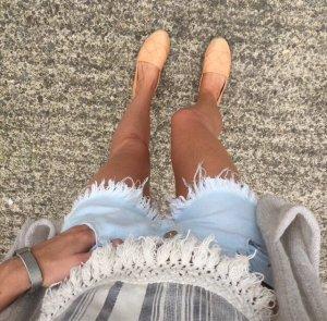 Zara Hot Pants Fransen Denim Jeans Destroyed Fringe Used
