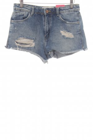 Zara Hot Pants kornblumenblau-dunkelblau Casual-Look