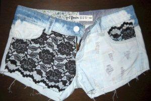 Zara Hotpants Hot Pants Hose Shorts blau Spitze schwarz S M 36 38